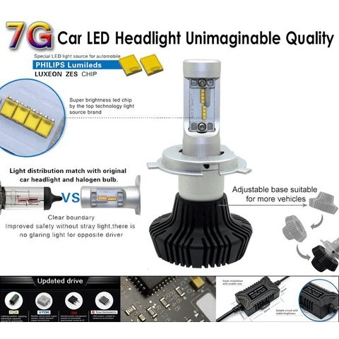Car LED Headlamp Kit UP-7HL-H4W-4000Lm (H4, 4000 lm, cold white) Preview 1